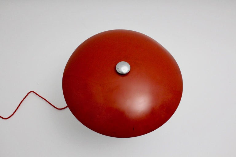 Red Art Deco Bauhaus Era Vintage Metal Desk Lamp by Max Schumacher 1934 Germany For Sale 4