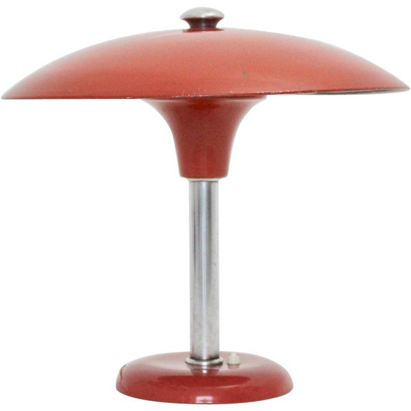 Red Art Deco Bauhaus Era Vintage Metal Desk Lamp by Max Schumacher 1934 Germany