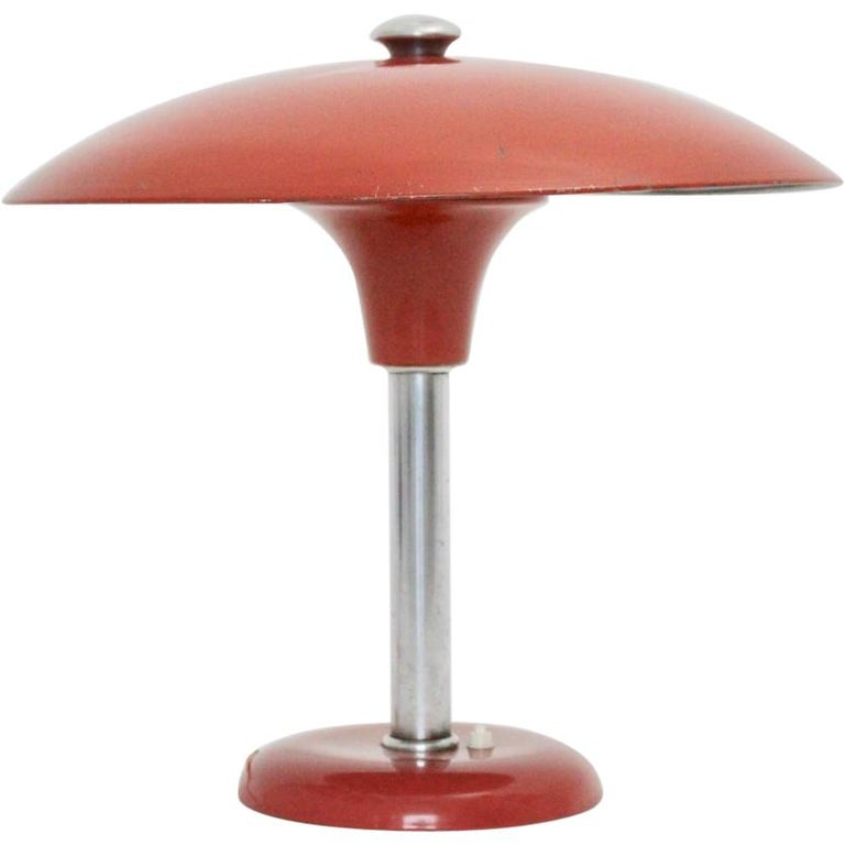 Red Art Deco Bauhaus Era Vintage Metal Desk Lamp by Max Schumacher 1934 Germany For Sale