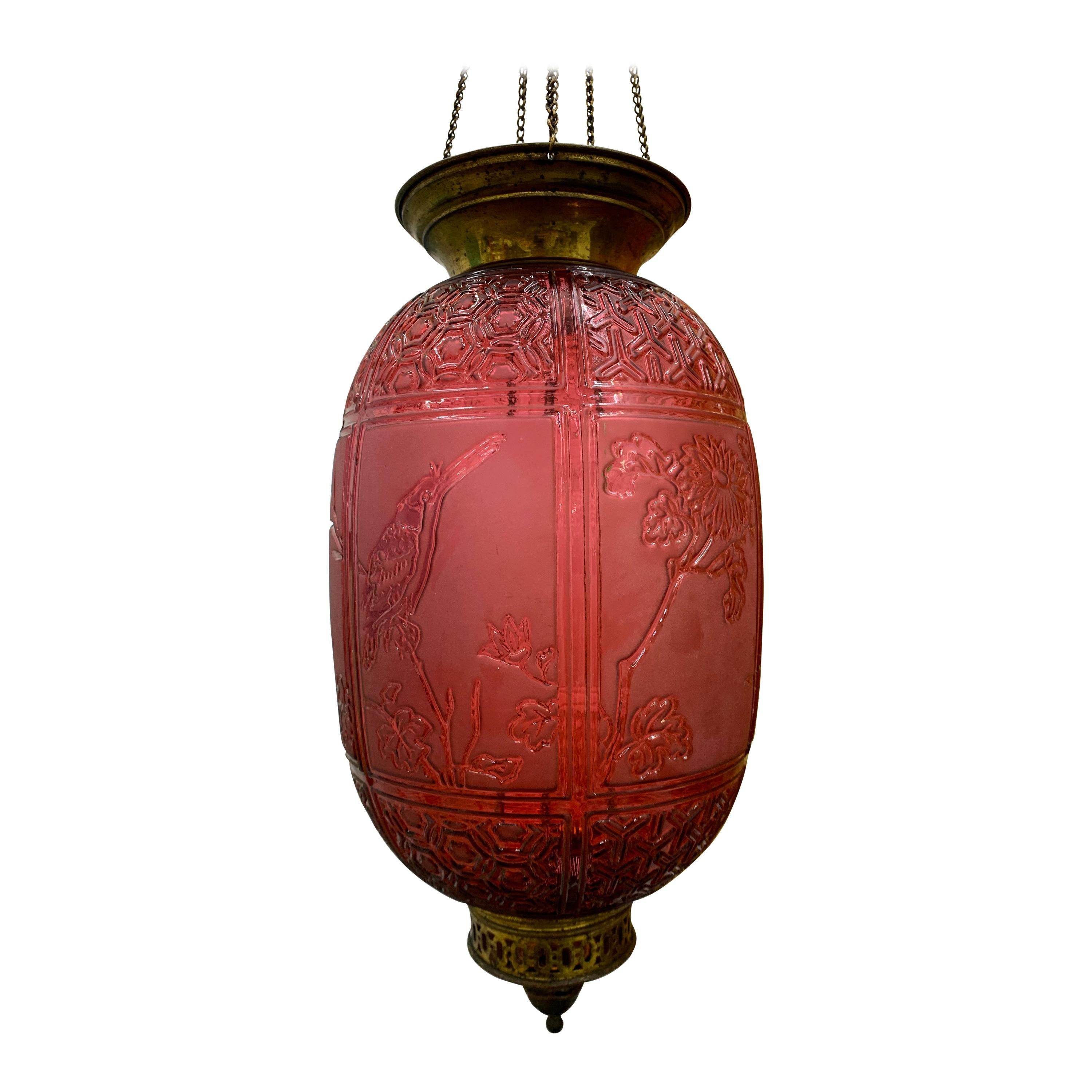 Red Art Nouveau Candle Lantern by Baccarat France, Depicting Birds, circa 1890