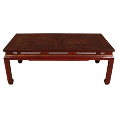 Red Asian Lacquer Coffee Table with Chinoiserie Detail