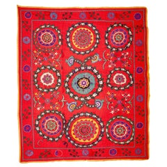 Red Background Suzani from Uzbekistan, Late 19th-Early 20th Century
