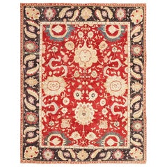 Red Background Vintage Indian Agra Rug. Size: 7 ft 9 in x 10 ft