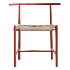 Red Bamboo Chair with Woven Seat in Rope Handmade by Studio Mumbai