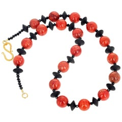Gemjunky BoHo Chic Red Bamboo Coral and Black Onyx Necklace