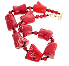 Gemjunky BoHo Chic Large Red Bamboo Coral Necklace