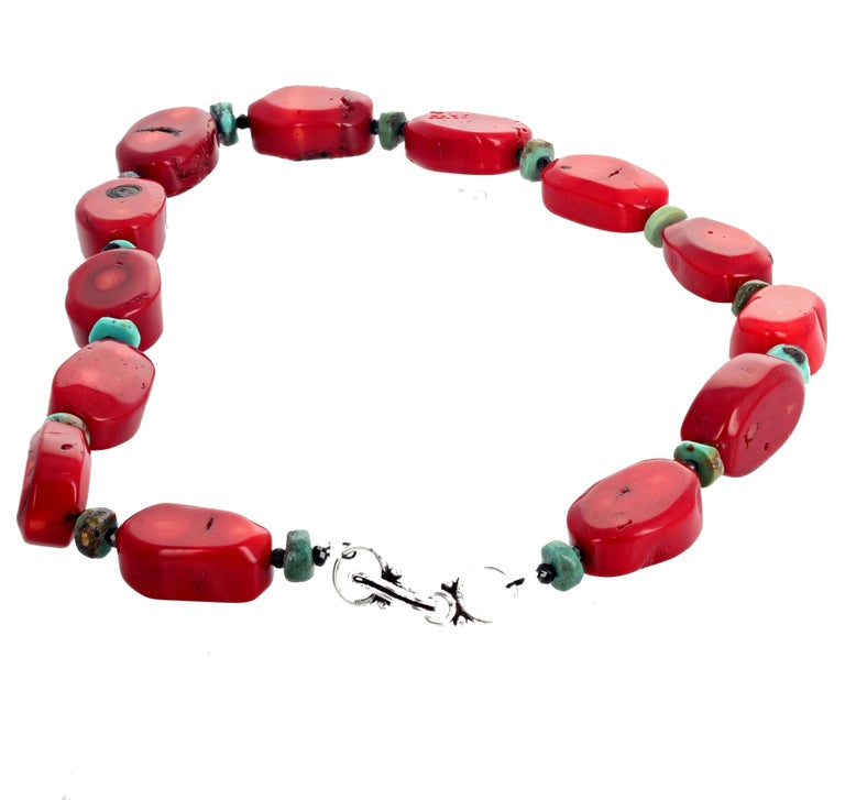 Red Bamboo Coral, Turquoise, Spinel Necklace In New Condition For Sale In Tuxedo Park , NY