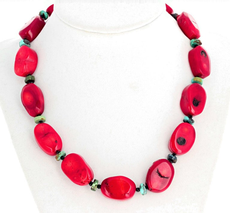 Women's Red Bamboo Coral, Turquoise, Spinel Necklace For Sale