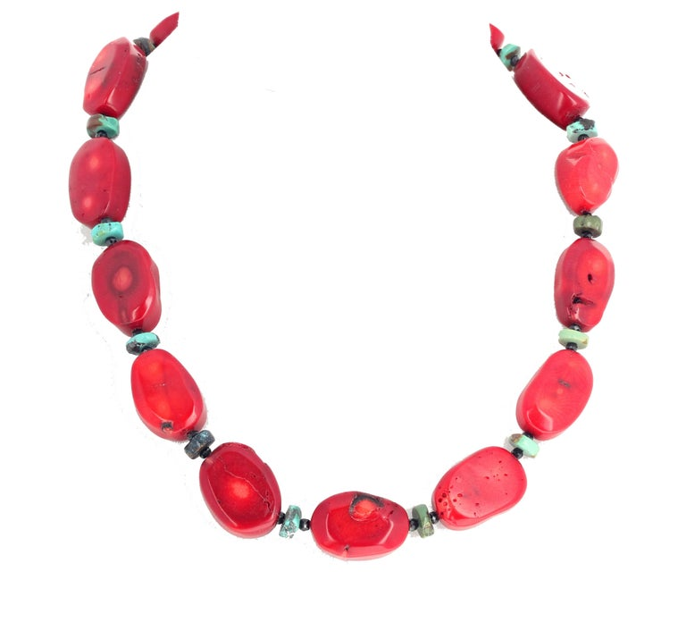 Red Bamboo Coral, Turquoise, Spinel Necklace For Sale 1