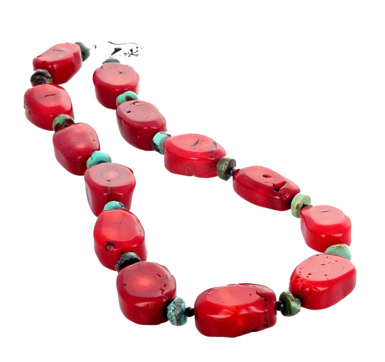 Red Bamboo Coral, Turquoise, Spinel Necklace For Sale 2