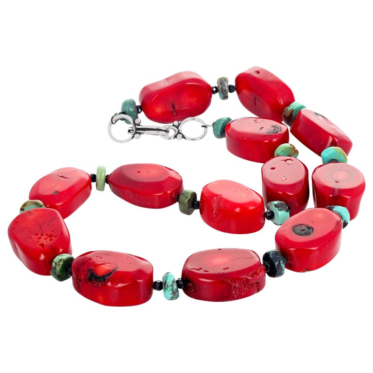 Red Bamboo Coral, Turquoise, Spinel Necklace For Sale
