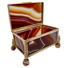 Red Scottish Banded Agate Hinged Stone Box with Gilt Frame-