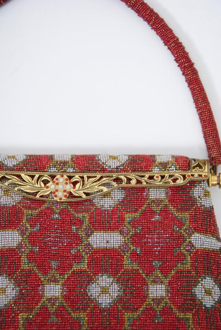 Brown Red Beaded Evening Bag, France For Sale