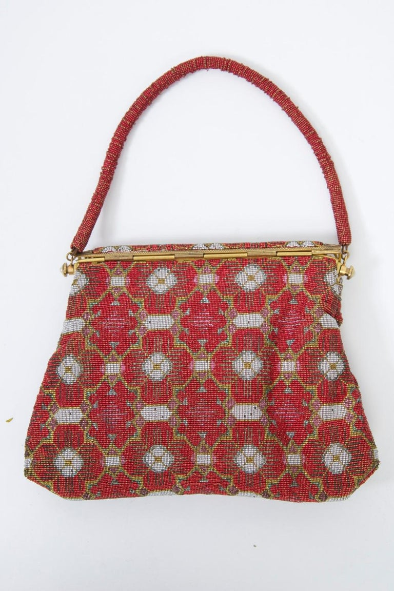 Red Beaded Evening Bag, France In Good Condition For Sale In Alford, MA