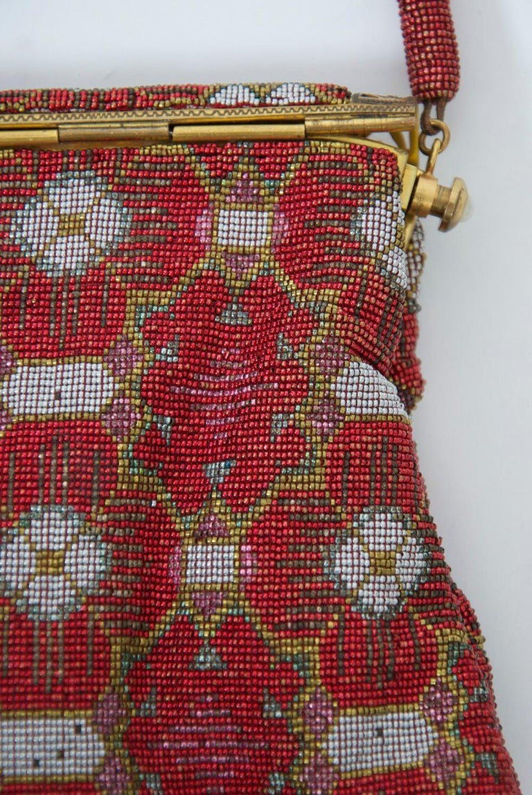Red Beaded Evening Bag, France For Sale 1
