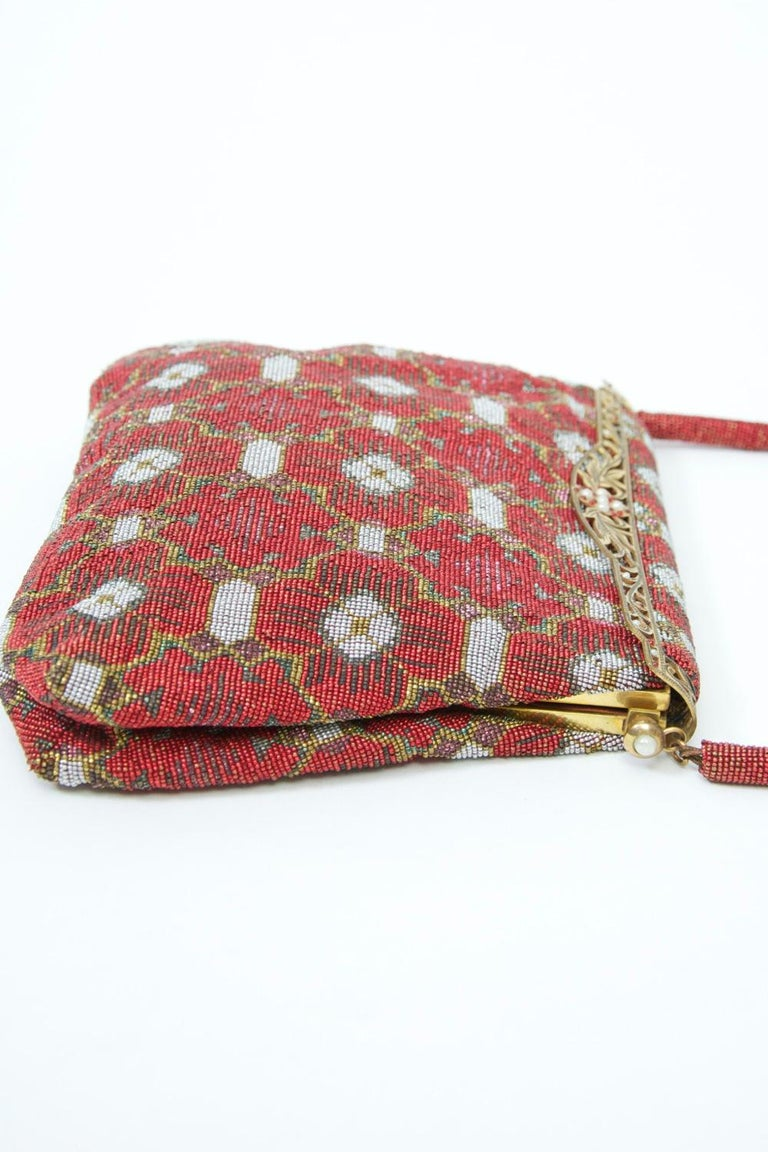 Red Beaded Evening Bag, France For Sale 3