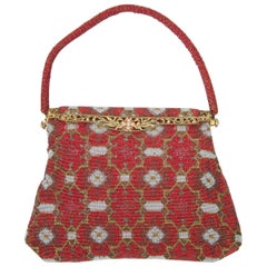 Red Beaded Evening Bag, France