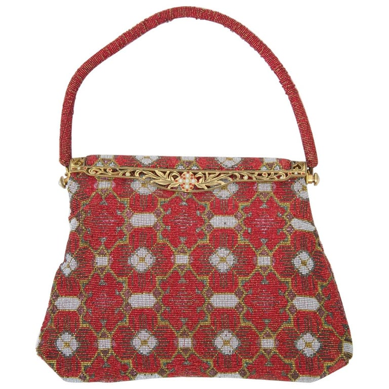 Red Beaded Evening Bag, France For Sale