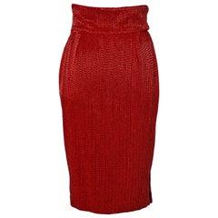 Red Beaded evening skirt Gianni Versace Sera