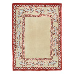 Red Beige and Light Green Wool Rug by Garouste and Bonetti, 1993