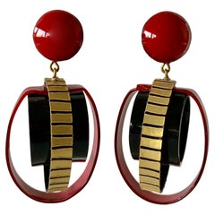 Red, Black and Gold Sphere Architectural Statement Earrings