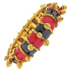 Red Black Enamel Gold Diamond Charm Bangle Bracelet