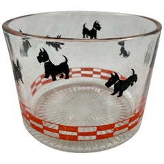 Red & Black FDR's Fala Scotty Dog American Glass Ice Bucket, circa 1930-1940