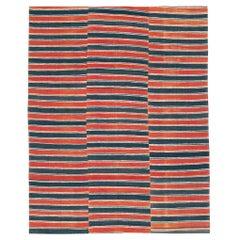 Red & Black Mid-20th Century Handmade Turkish Flat-Weave Kilim Accent Rug