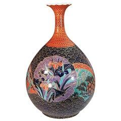 Large Red Black Porcelain Vase by Contemporary Japanese Master Artist