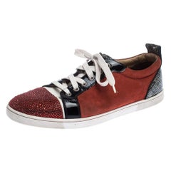 Red/Black Suede and Patent Leather Gondola Strass Low Top Sneakers Size 42