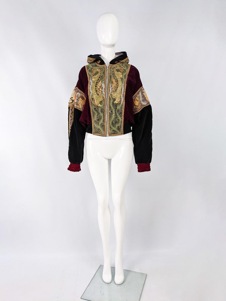 "Vintage Red & Black Velvet Asian Gold Dragon Embroidered Bomber Jacket, 1980s   Size: Unlabelled; has a very oversized fit. Would suit a womens Large-XXL or a mens Medium to XL with a very oversized fit.  Chest - up to 54"" / 137cm (check waist"