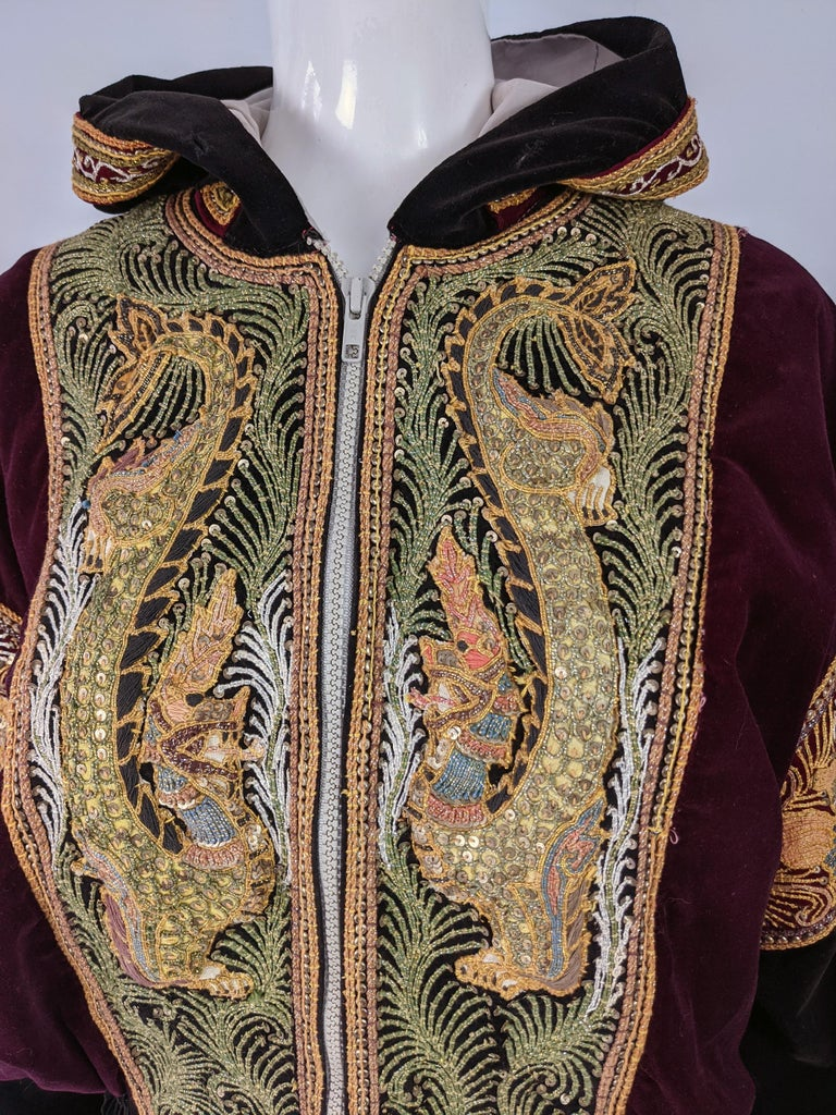 Women's or Men's Red & Black Velvet Gold Dragon Vintage Embroidered Bomber Jacket