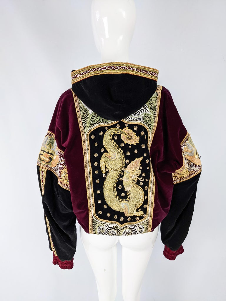 Red & Black Velvet Gold Dragon Vintage Embroidered Bomber Jacket 3