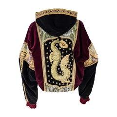 Red & Black Velvet Gold Dragon Vintage Embroidered Bomber Jacket