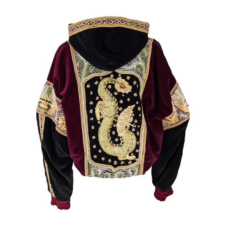 Red & Black Velvet Gold Dragon Vintage Embroidered Bomber Jacket