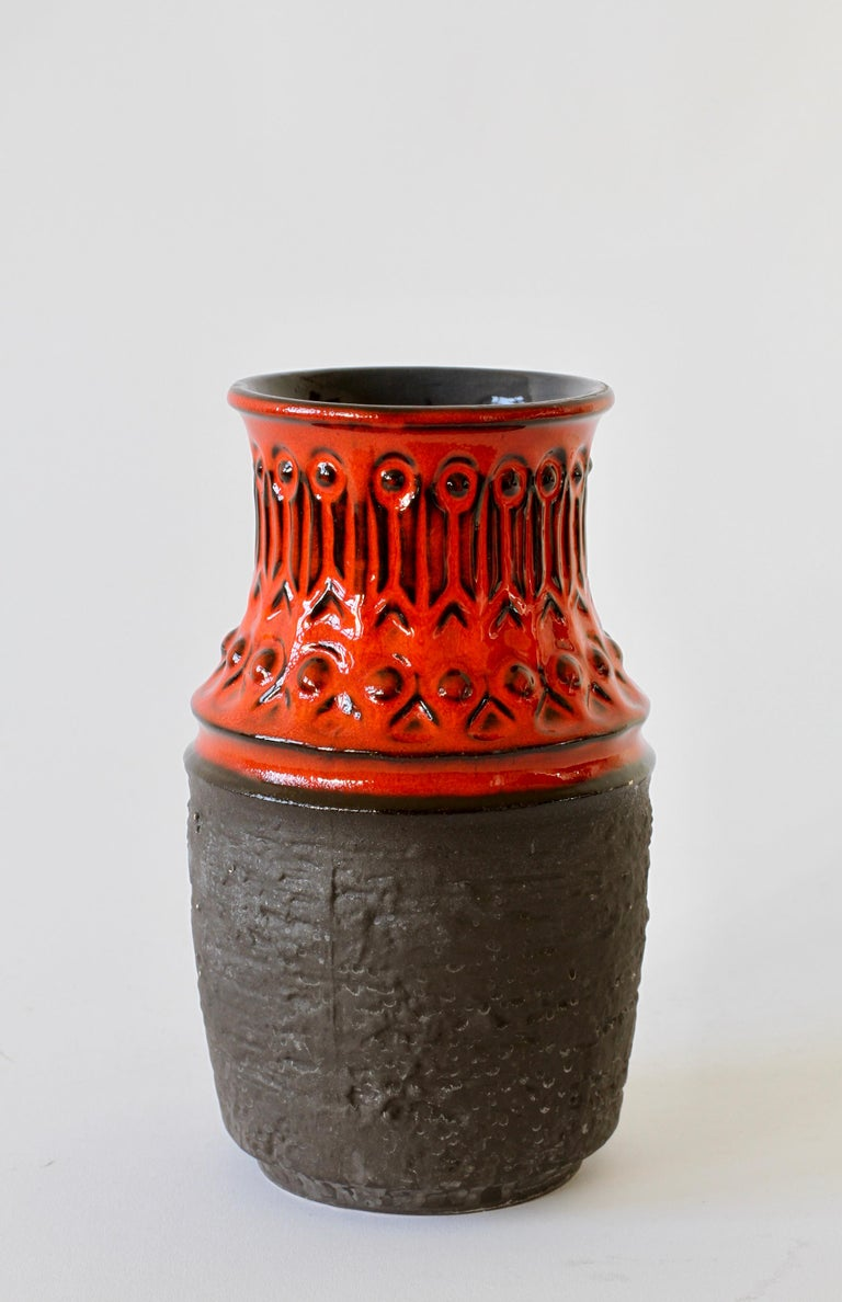 Mid-Century Modern Red and Black Vintage Midcentury West German Vase by Jasba Pottery, circa 1970 For Sale