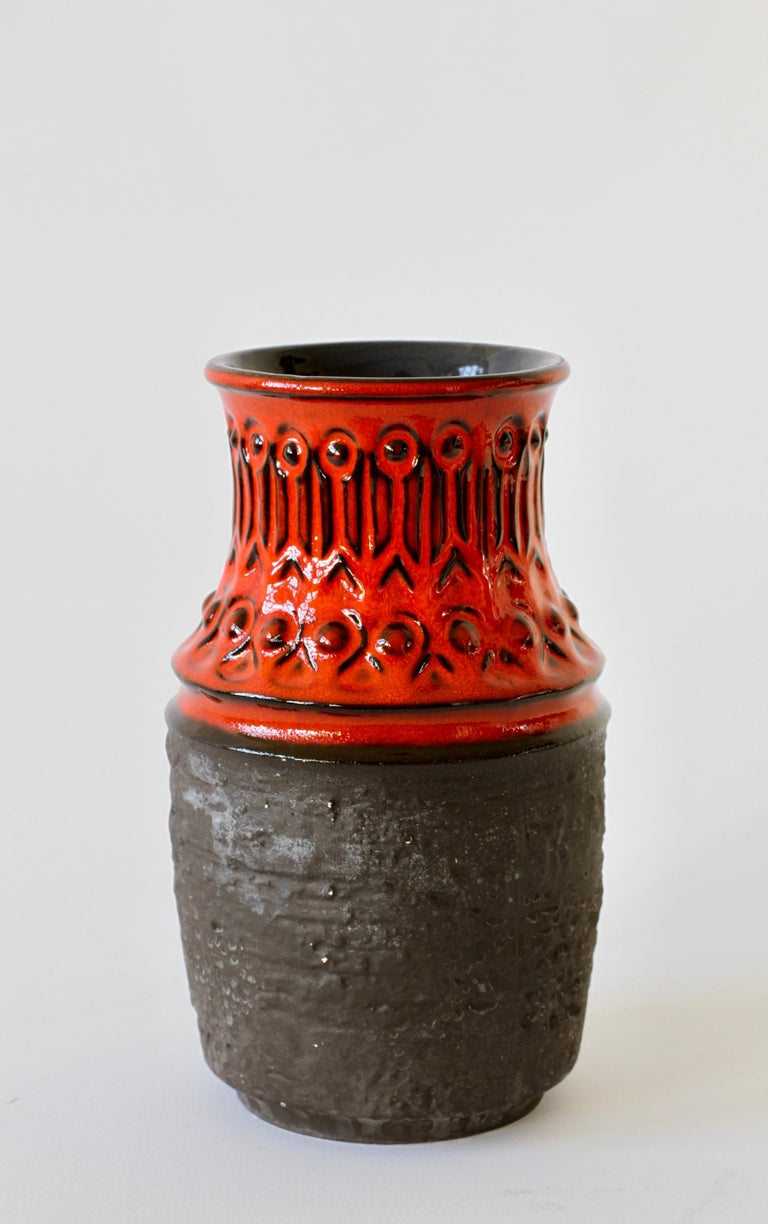 Molded Red and Black Vintage Midcentury West German Vase by Jasba Pottery, circa 1970 For Sale