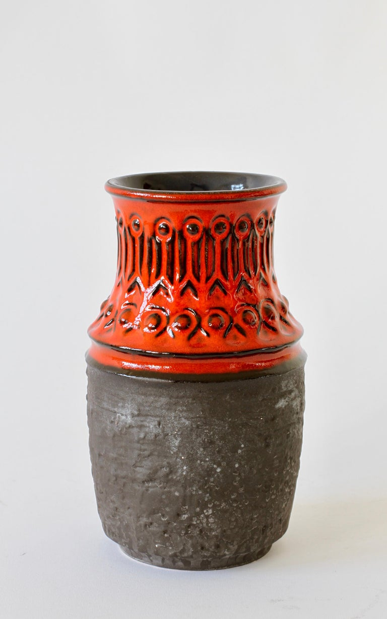 20th Century Red and Black Vintage Midcentury West German Vase by Jasba Pottery, circa 1970 For Sale