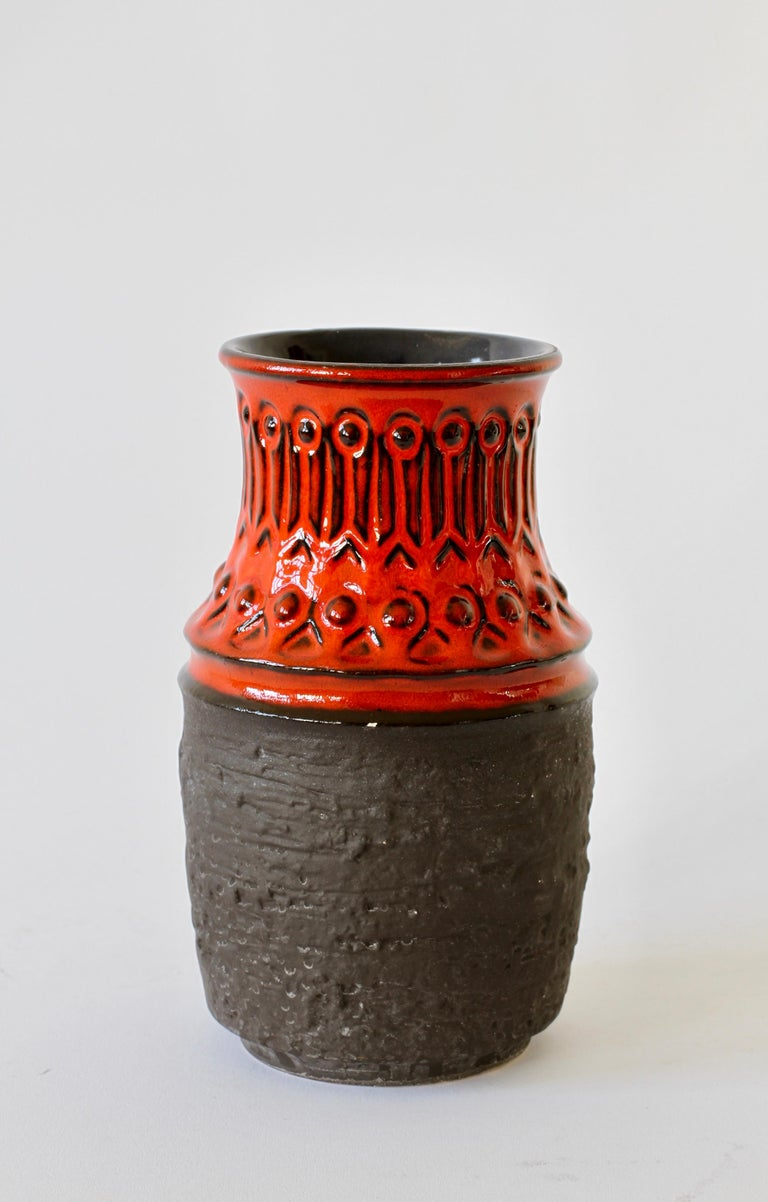 Red and Black Vintage Midcentury West German Vase by Jasba Pottery, circa 1970 For Sale 1