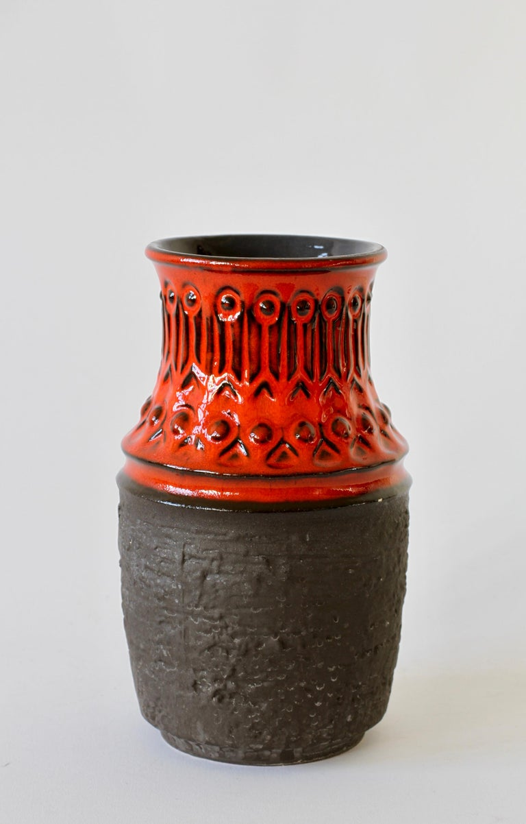 Red and Black Vintage Midcentury West German Vase by Jasba Pottery, circa 1970 For Sale 2