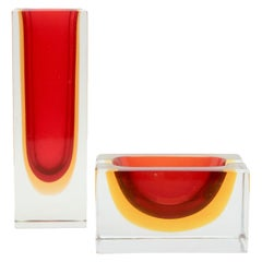 Red Block Vase and Bowl, Two Murano Crystal designs by Flavio Poli