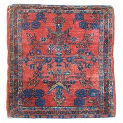 Red Blue Antique Oriental Traditional Persian Sarouk Square Size Rug