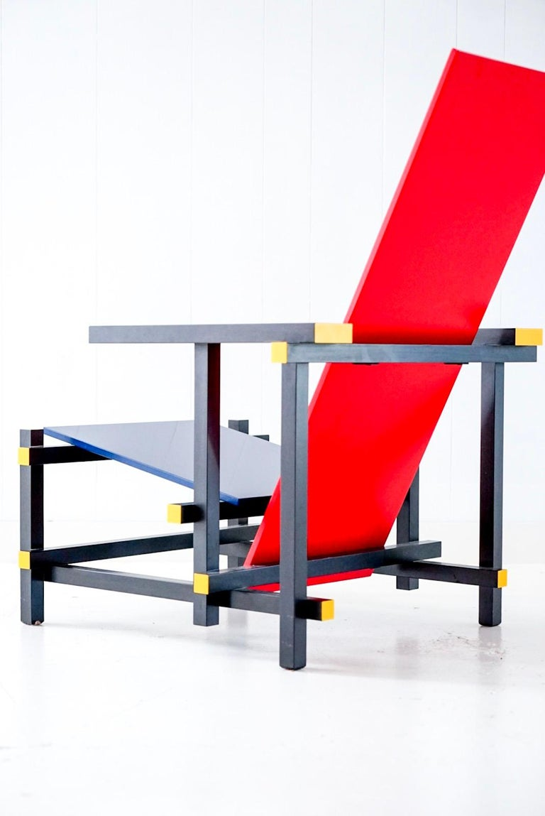 Red Blue Armchair by Gerrit Rietveld for Cassina, Signed ...