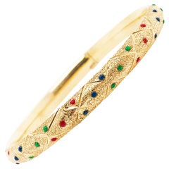 Red, Blue & Green Enamel Gold Bangle Bracelet in 14K Yellow Gold Texture Finish