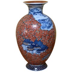 Red Blue Hand Painted Porcelain Vase by Japanese Master Artist