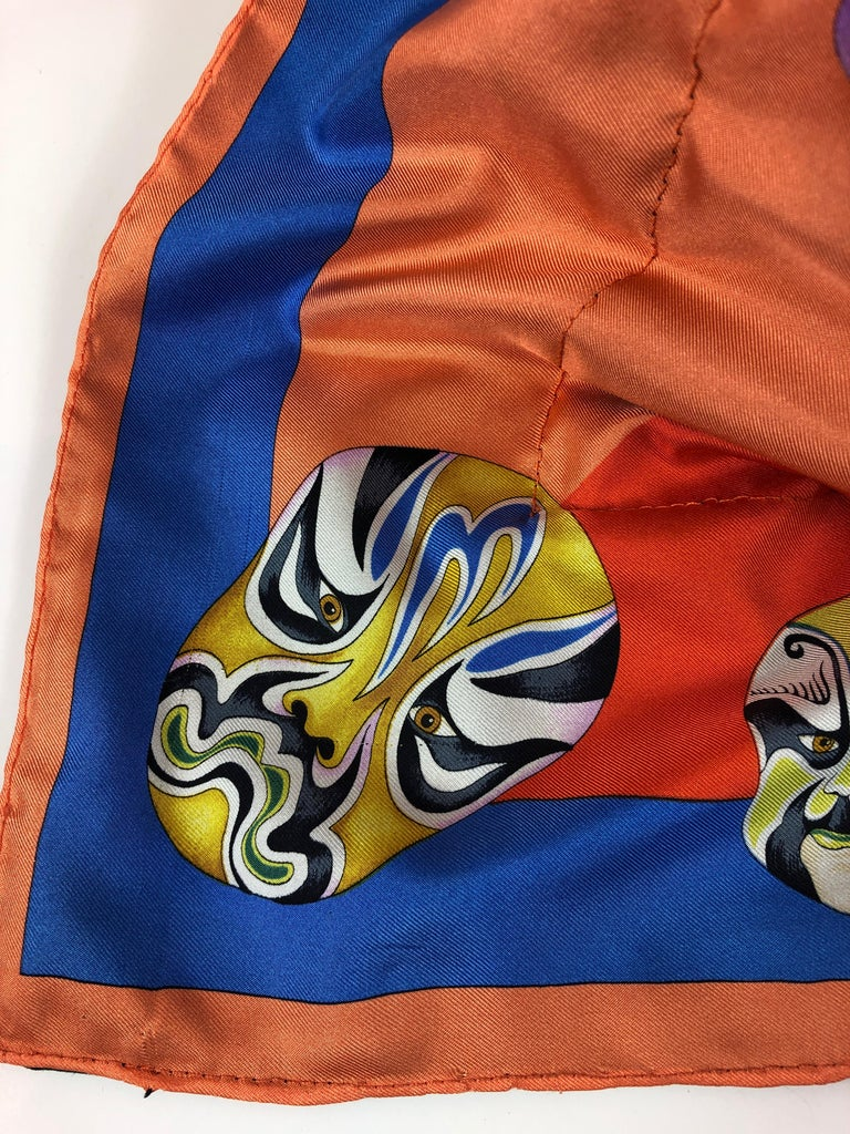 Red, Blue, Orange, Lilac, Green and Yellow Versace Silk Scarf Upholstered Pillow For Sale 7