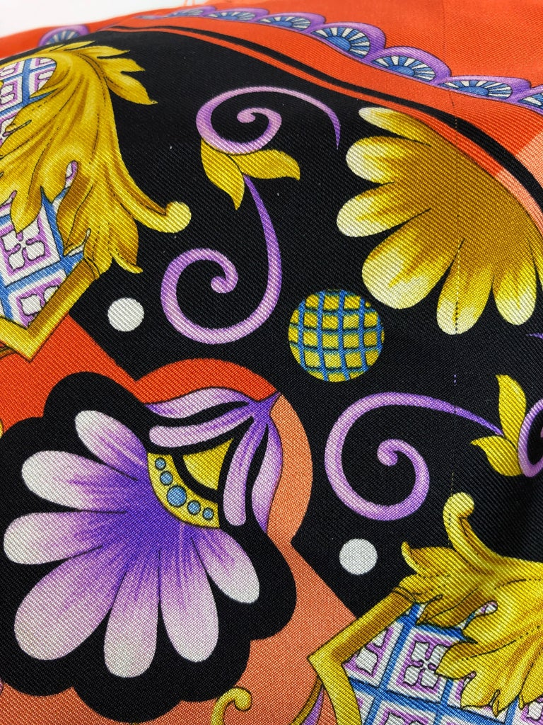 Red, Blue, Orange, Lilac, Green and Yellow Versace Silk Scarf Upholstered Pillow For Sale 8