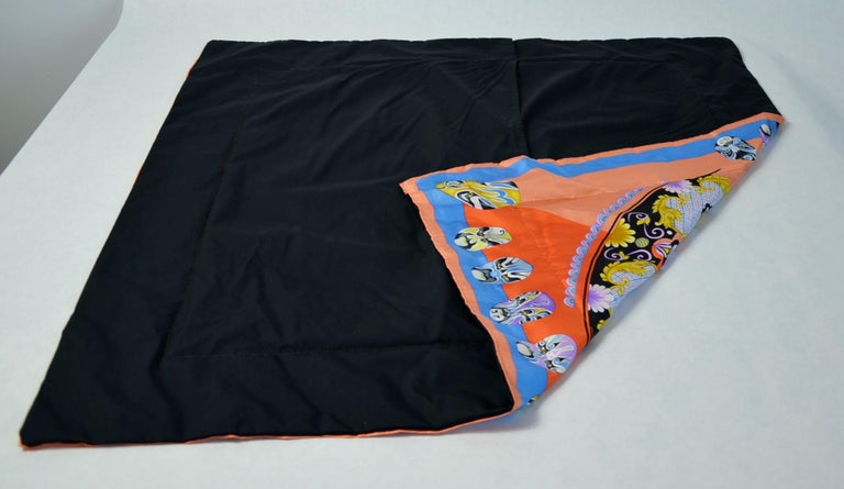 Red, Blue, Orange, Lilac, Green and Yellow Versace Silk Scarf Upholstered Pillow For Sale 13