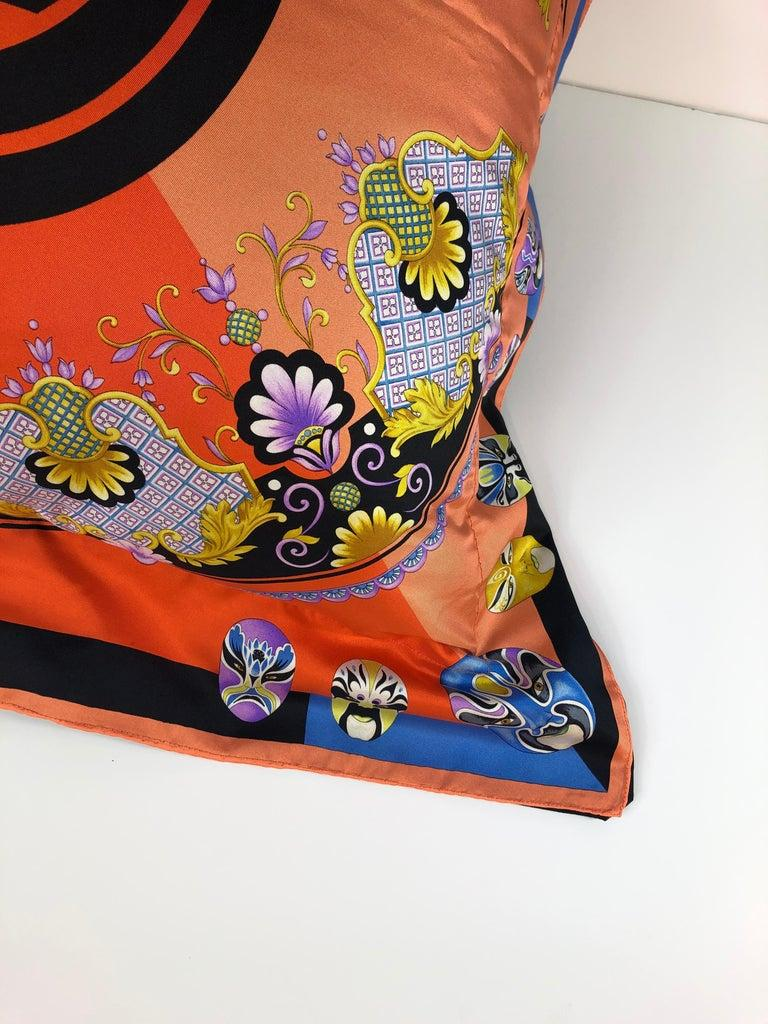 Brown Red, Blue, Orange, Lilac, Green and Yellow Versace Silk Scarf Upholstered Pillow For Sale