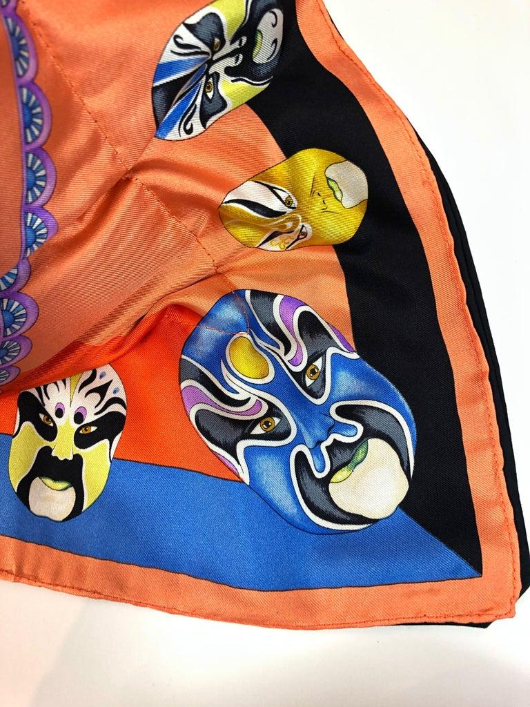 Women's or Men's Red, Blue, Orange, Lilac, Green and Yellow Versace Silk Scarf Upholstered Pillow For Sale